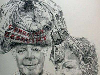 Oude mensen: worden wij bij het oud vuil gezet?  potlood op papier, 70 x 100 cm