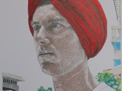 portret met sikh tulband